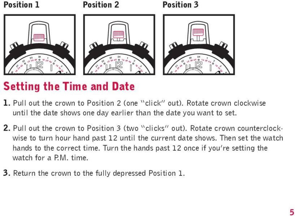 16 14 13 11 10 19 17 30 16 2. Pull out the crown to Position 3 (two clicks out). Rotate crown counterclockwise to turn hour hand past 12 until the current date shows.