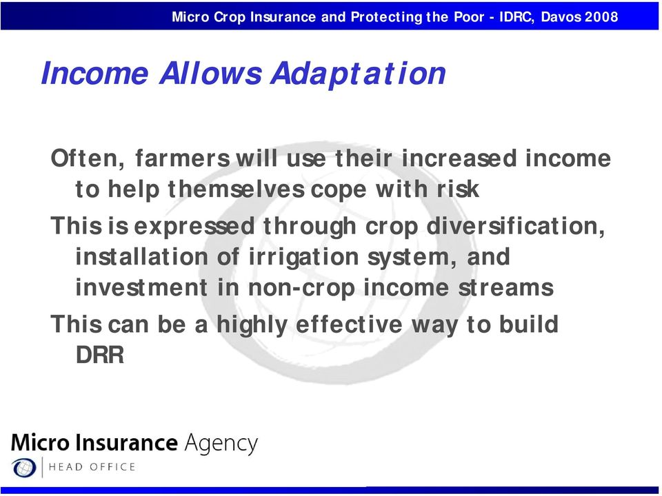crop diversification, installation of irrigation system, and