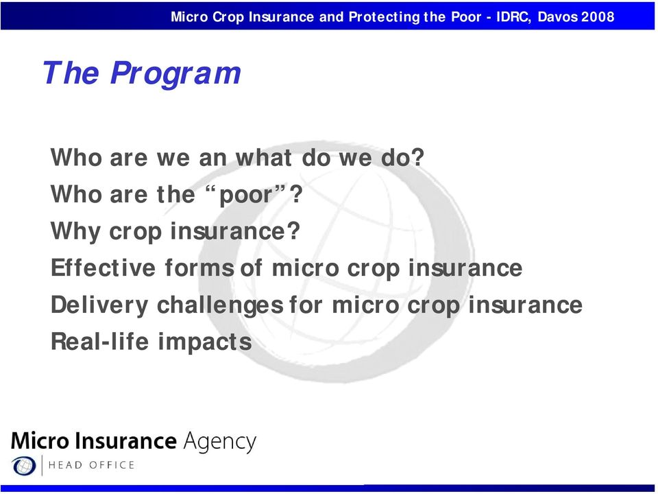 Effective forms of micro crop insurance