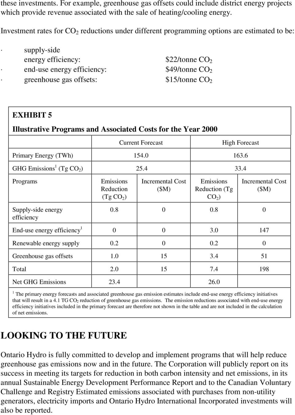 offsets: $15/tonne CO 2 EXHIBIT 5 Illustrative Programs and Associated Costs for the Year 2000 Current Forecast High Forecast Primary Energy (TWh) 154.0 163.6 GHG Emissions 1 (Tg CO 2 ) 25.4 33.