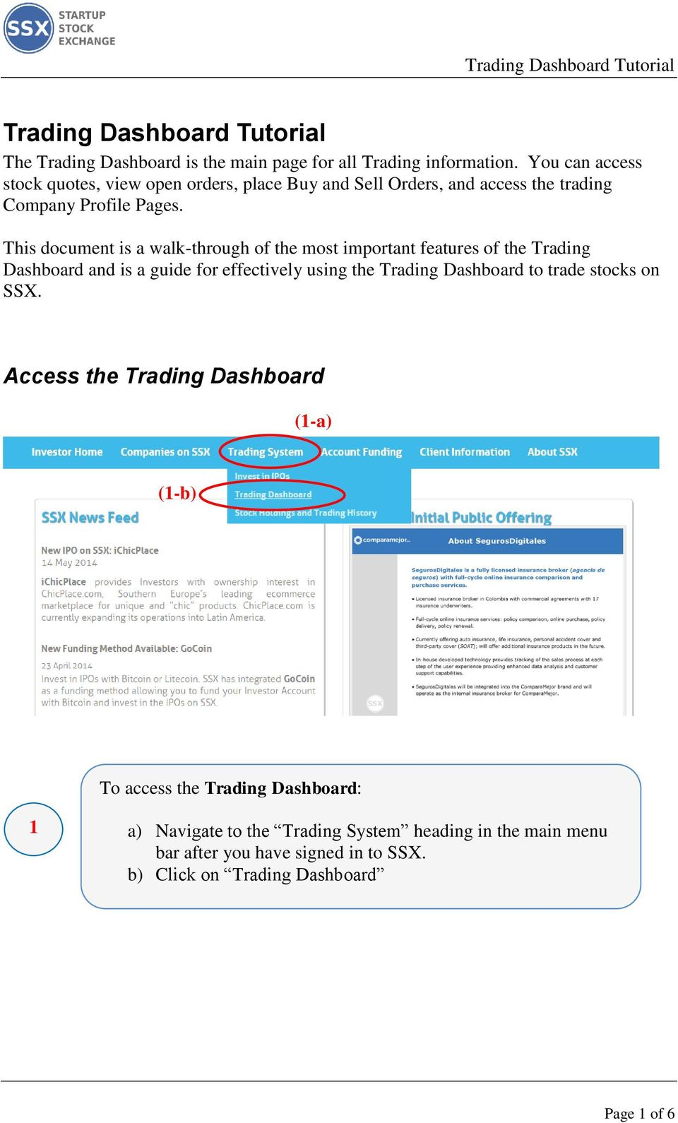 This document is a walk-through of the most important features of the Trading Dashboard and is a guide for effectively using the Trading Dashboard to