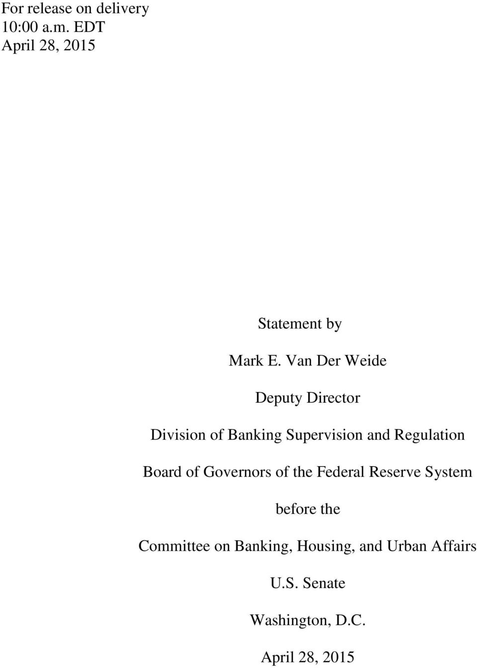 Regulation Board of Governors of the Federal Reserve System before the