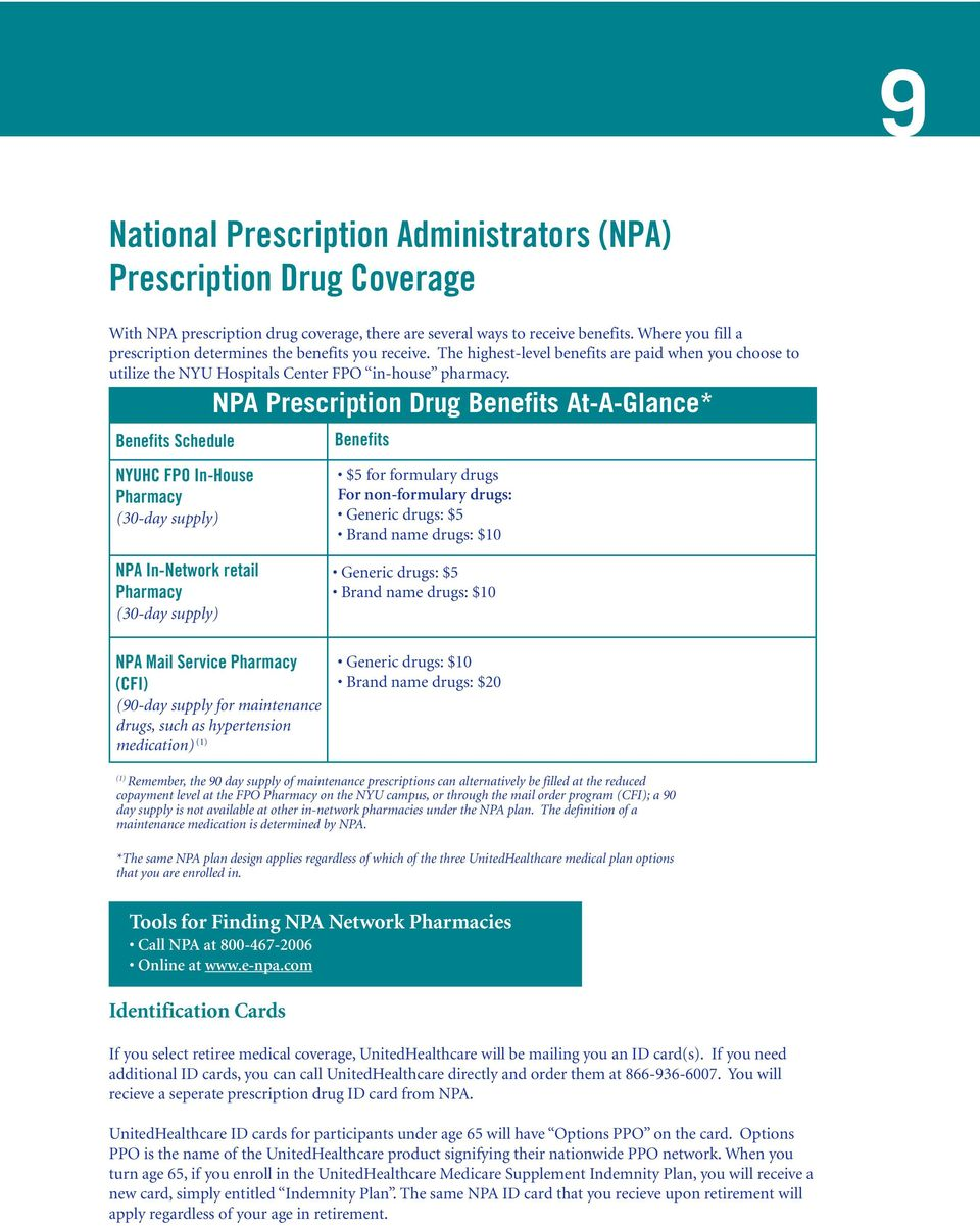 NPA Prescription Drug Benefits At-A-Glance* Benefits Schedule NYUHC FPO In-House Pharmacy (30-day supply) Benefits $5 for formulary drugs For non-formulary drugs: Generic drugs: $5 Brand name drugs: