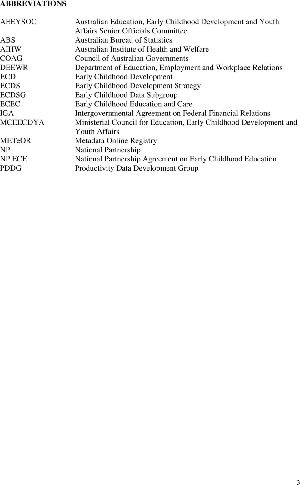 Development Early Childhood Development Strategy Early Childhood Data Subgroup Early Childhood Education and Care Intergovernmental Agreement on Federal Financial Relations Ministerial Council