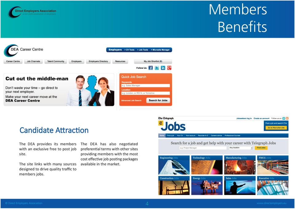 The site links with many sources designed to drive quality traffic to members jobs.