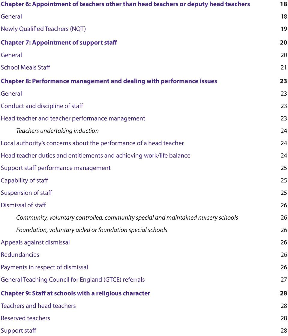 induction 24 Local authority s concerns about the performance of a head teacher 24 Head teacher duties and entitlements and achieving work/life balance 24 Support staff performance management 25