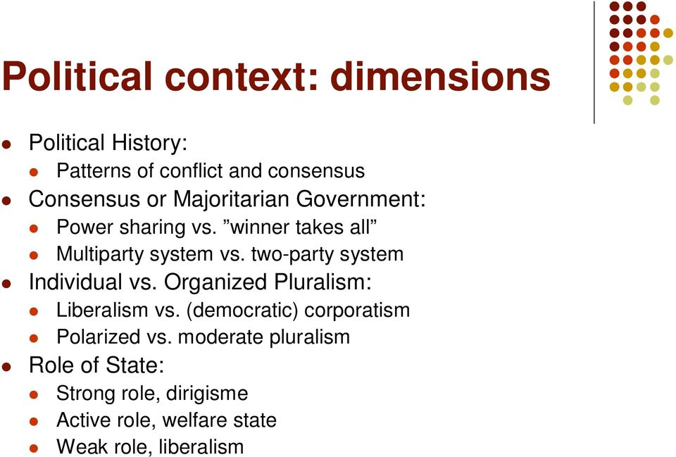 two-party system Individual vs. Organized Pluralism: Liberalism vs.