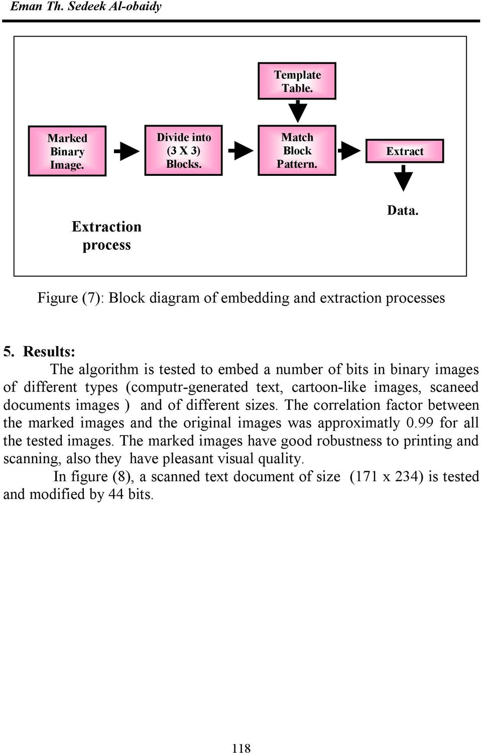 Results: The algorithm is tested to embed a number of bits in binary images of different types (computr-generated text, cartoon-like images, scaneed documents images ) and of