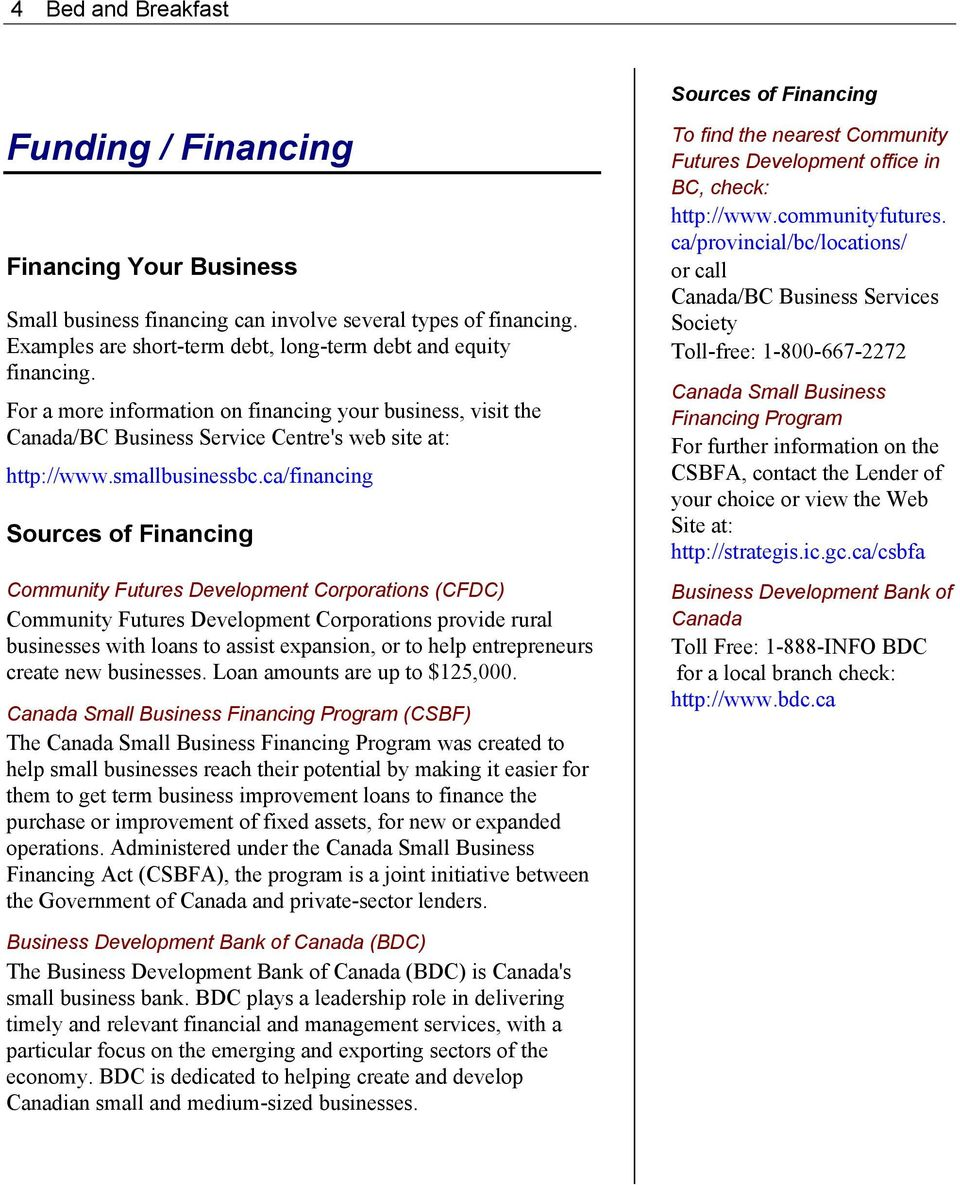 ca/financing Sources of Financing Community Futures Development Corporations (CFDC) Community Futures Development Corporations provide rural businesses with loans to assist expansion, or to help