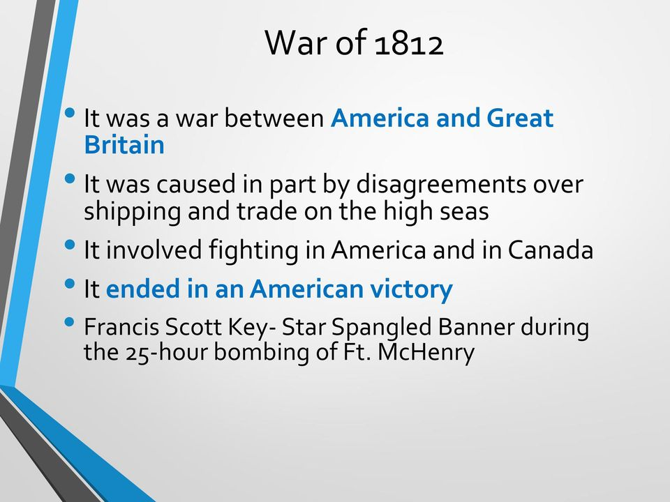 involved fighting in America and in Canada It ended in an American victory