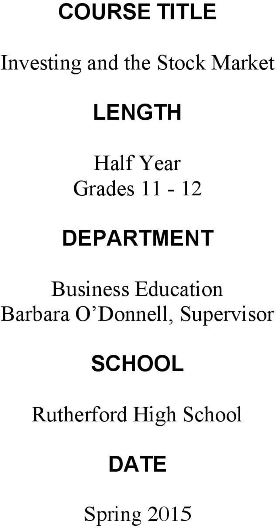 Business Education Barbara O Donnell,