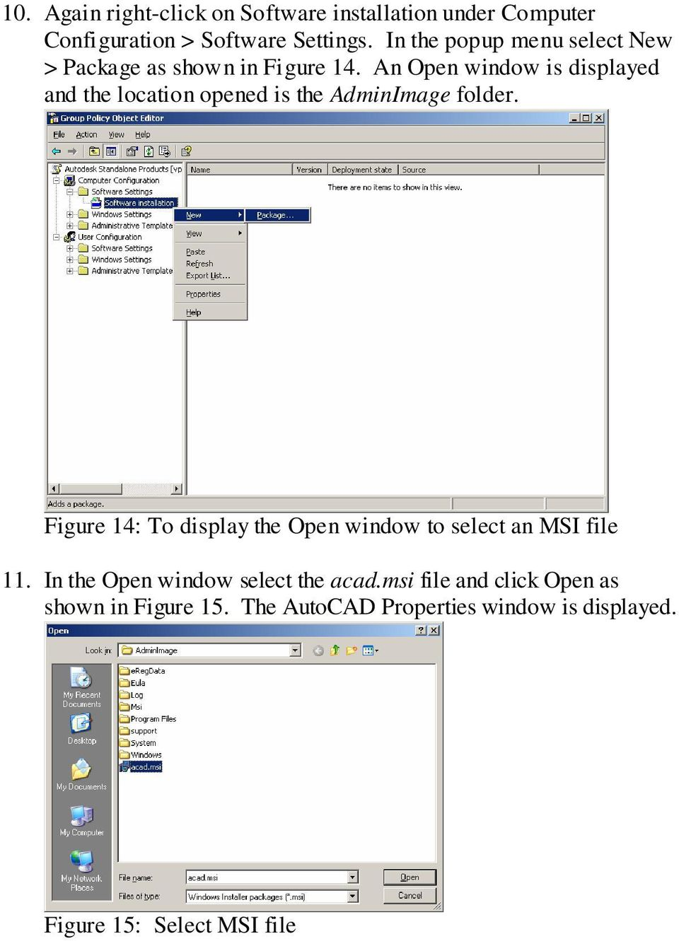An Open window is displayed and the location opened is the AdminImage folder.