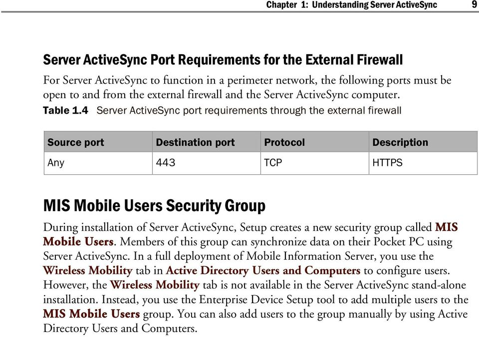 4 Server ActiveSync port requirements through the external firewall Source port Destination port Protocol Description Any 443 TCP HTTPS MIS Mobile Users Security Group During installation of Server