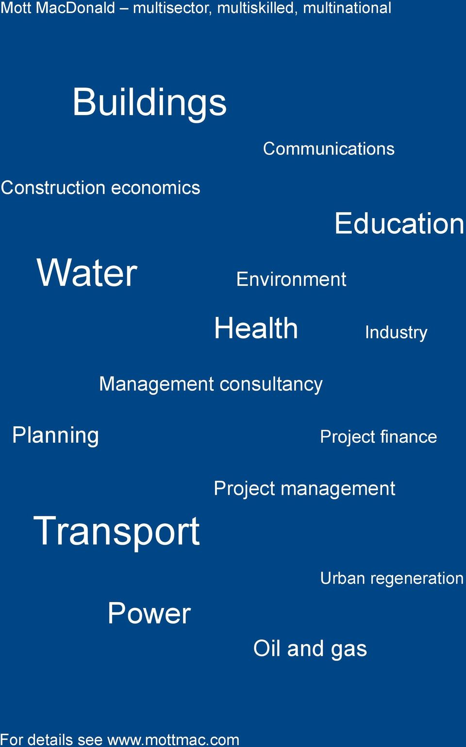 Industry Management consultancy Planning Project finance Project