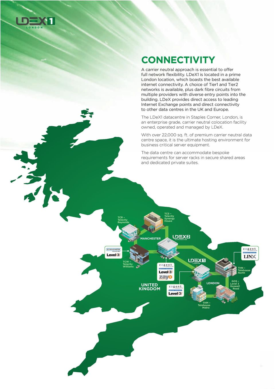 LDeX provides direct access to leading Internet Exchange points and direct connectivity to other data centres in the UK and Europe.