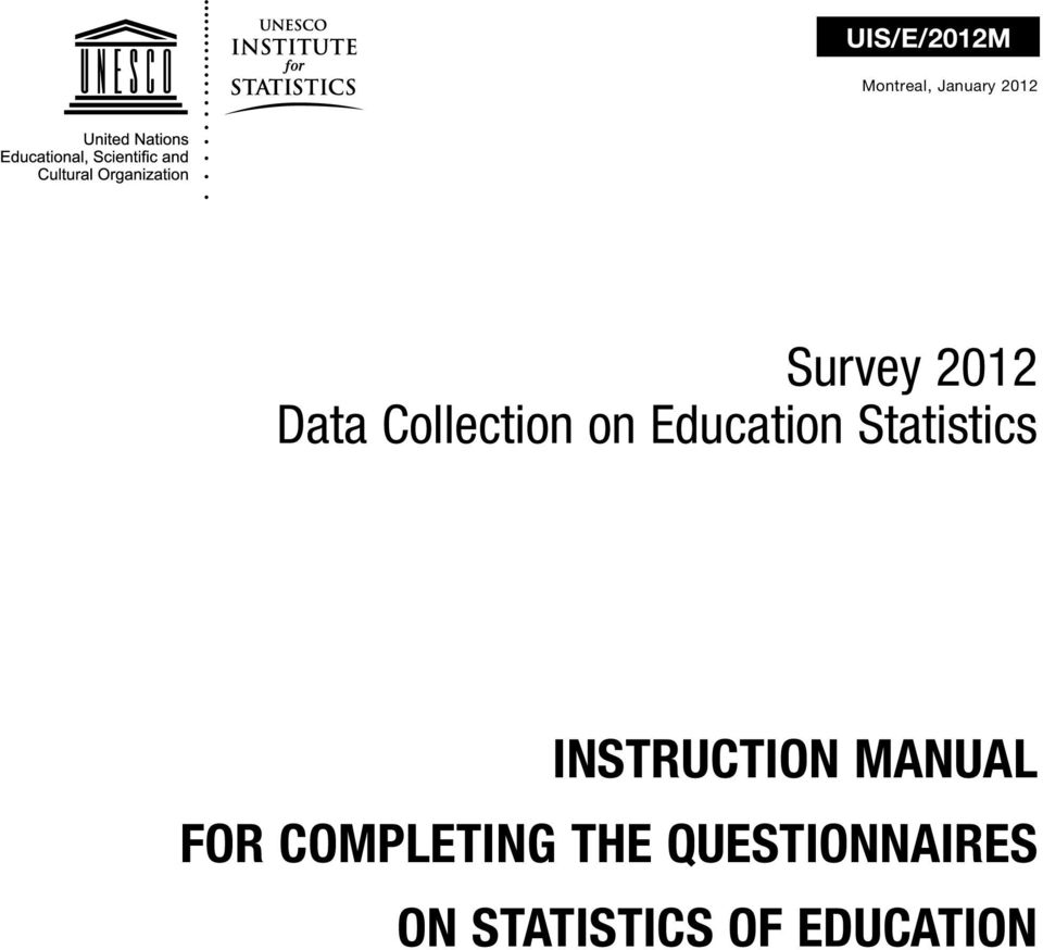 Statistics INSTRUCTION MANUAL FOR