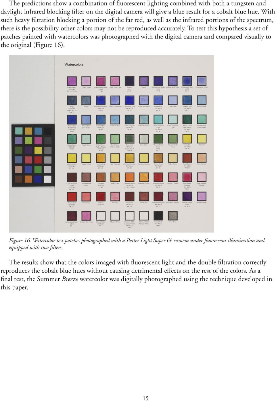 To test this hypothesis a set of patches painted with watercolors was photographed with the digital camera and compared visually to the original (Figure 16). Figure 16.