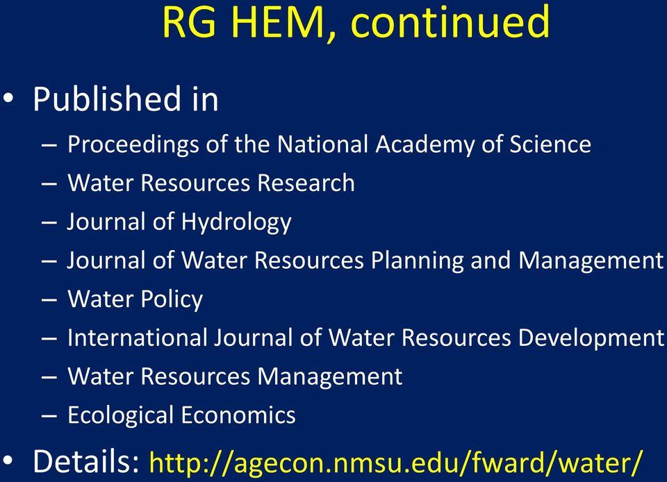Management Water Policy International Journal of Water Resources Development Water