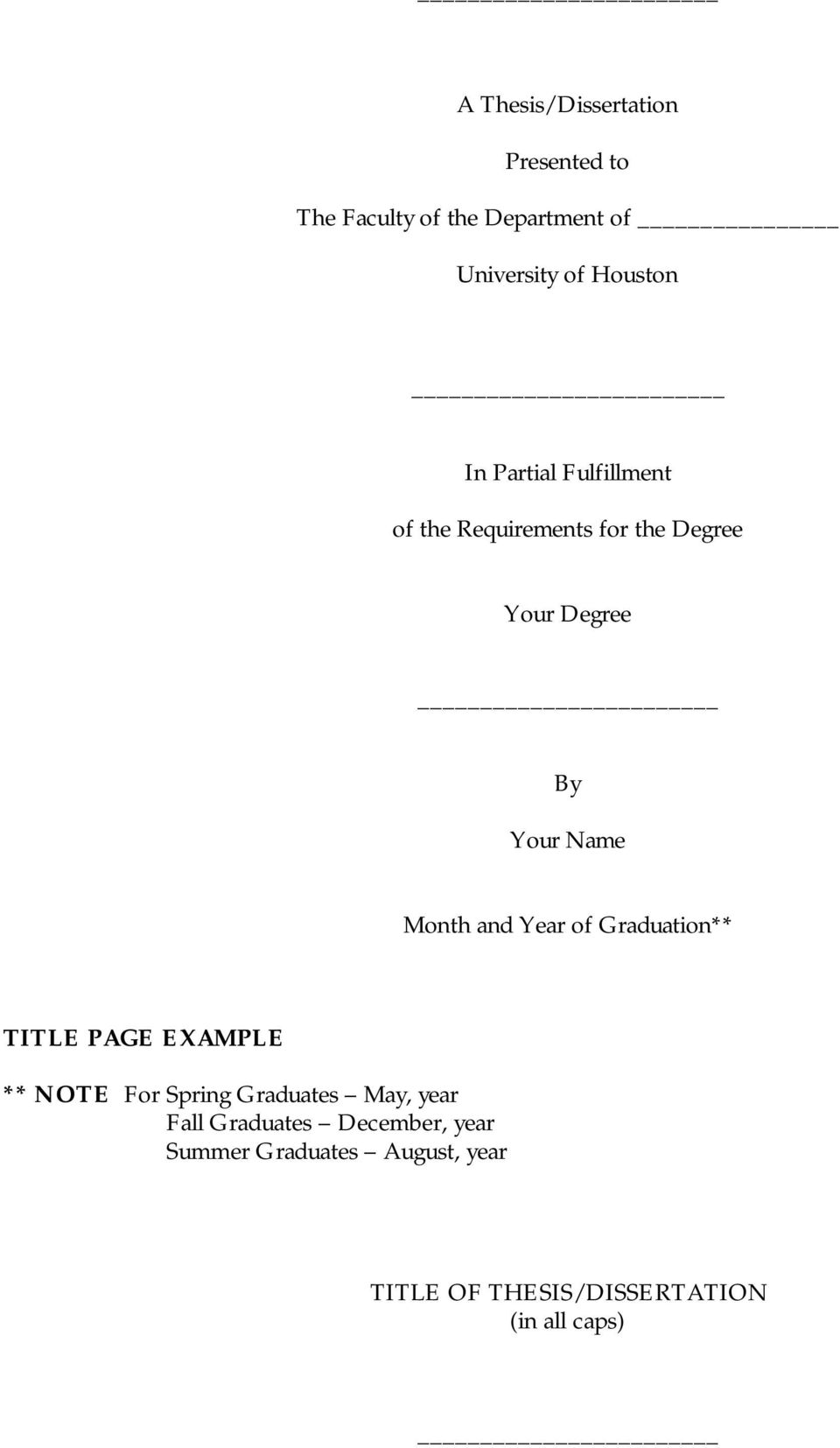 and Year of Graduation** TITLE PAGE EXAMPLE ** NOTE For Spring Graduates May, year Fall