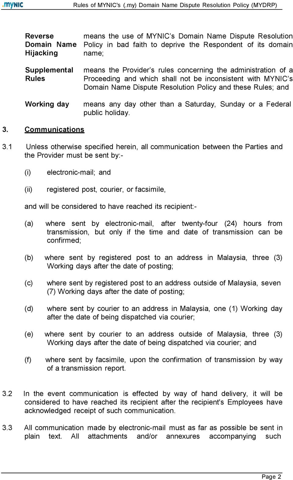 Saturday, Sunday or a Federal public holiday. 3. Communications 3.