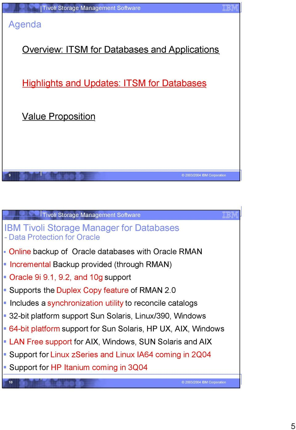 (through RMAN) Oracle 9i 9.1, 9.2, and 10g support Supports the Duplex Copy feature of RMAN 2.