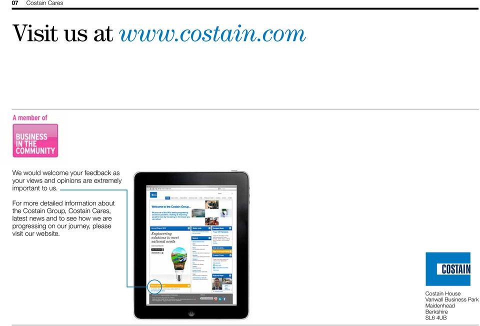 us. For more detailed information about the Costain Group, Costain Cares, latest news