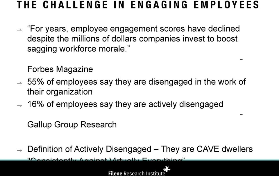 - Forbes Magazine 55% of employees say they are disengaged in the work of their organization 16% of employees
