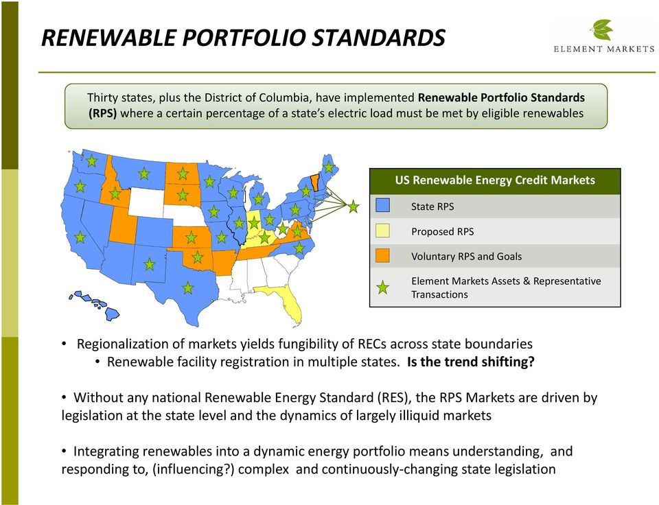 Element Markets Assets & Representative Transactions Regionalization of markets yields fungibility of RECs across state boundaries Renewable facility registration in multiple states.