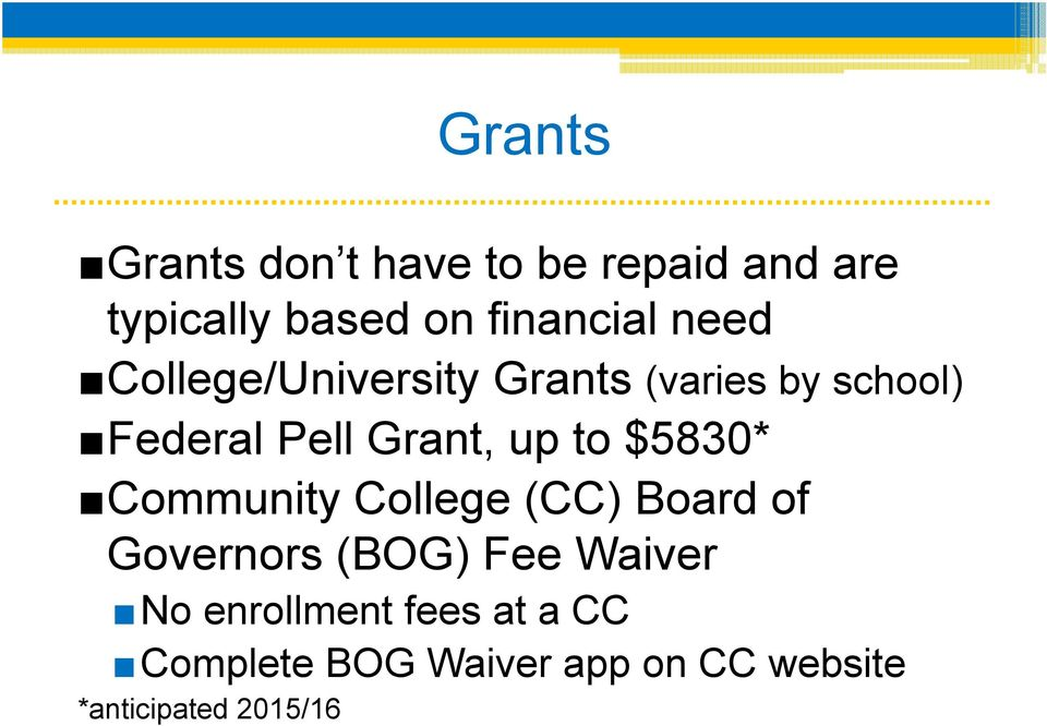 $5830* Community College (CC) Board of Governors (BOG) Fee Waiver No