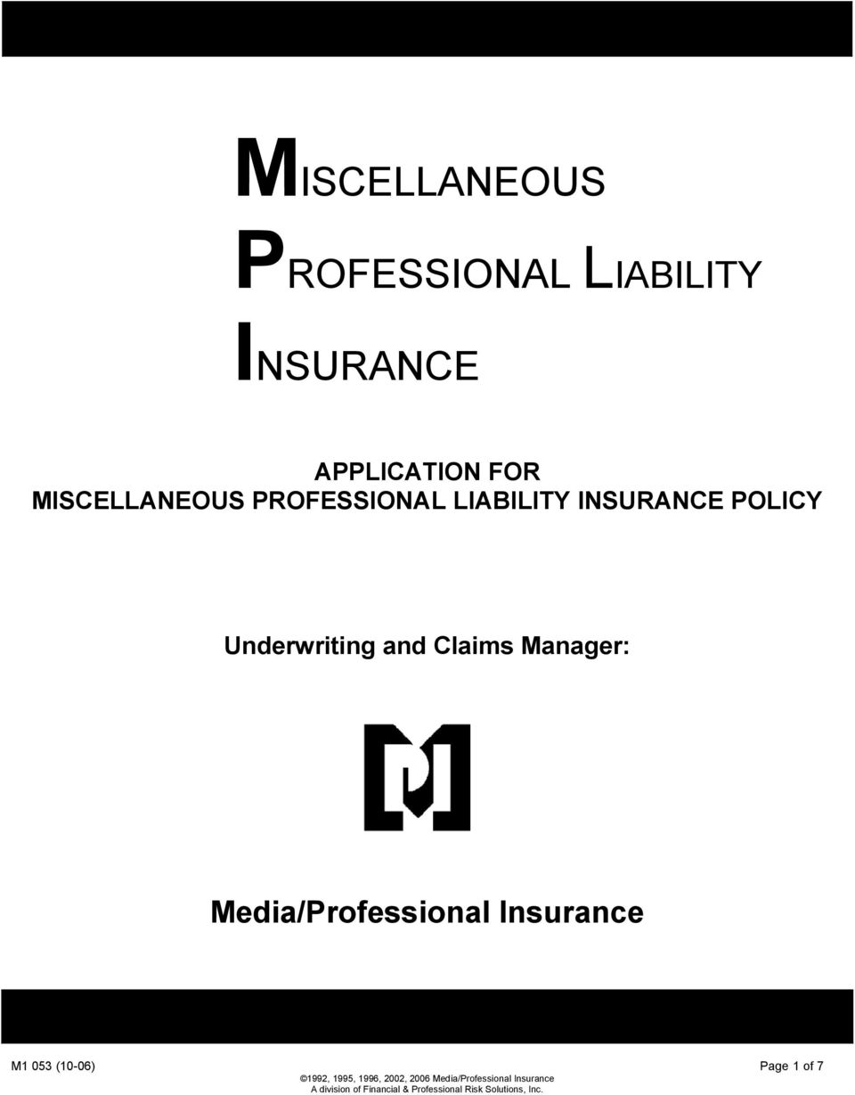 Manager: Media/Professional Insurance M1 053