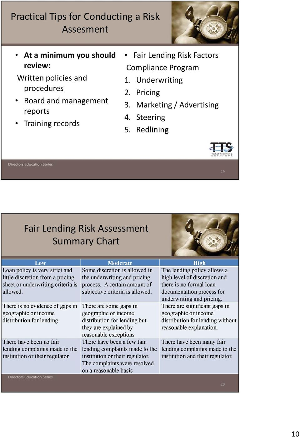 Redlining 19 Fair Lending Risk Assessment Summary Chart Low Moderate High Some discretion is allowed in the underwriting and pricing process. A certain amount of subjective criteria is allowed.