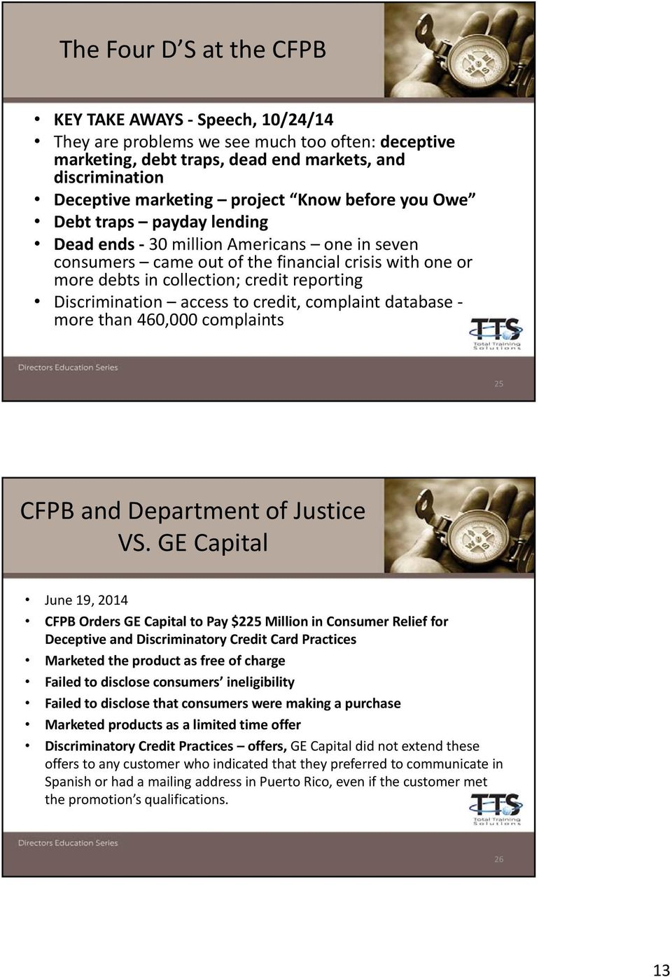 Discrimination access to credit, complaint database more than 460,000 complaints 25 CFPB and Department of Justice VS.