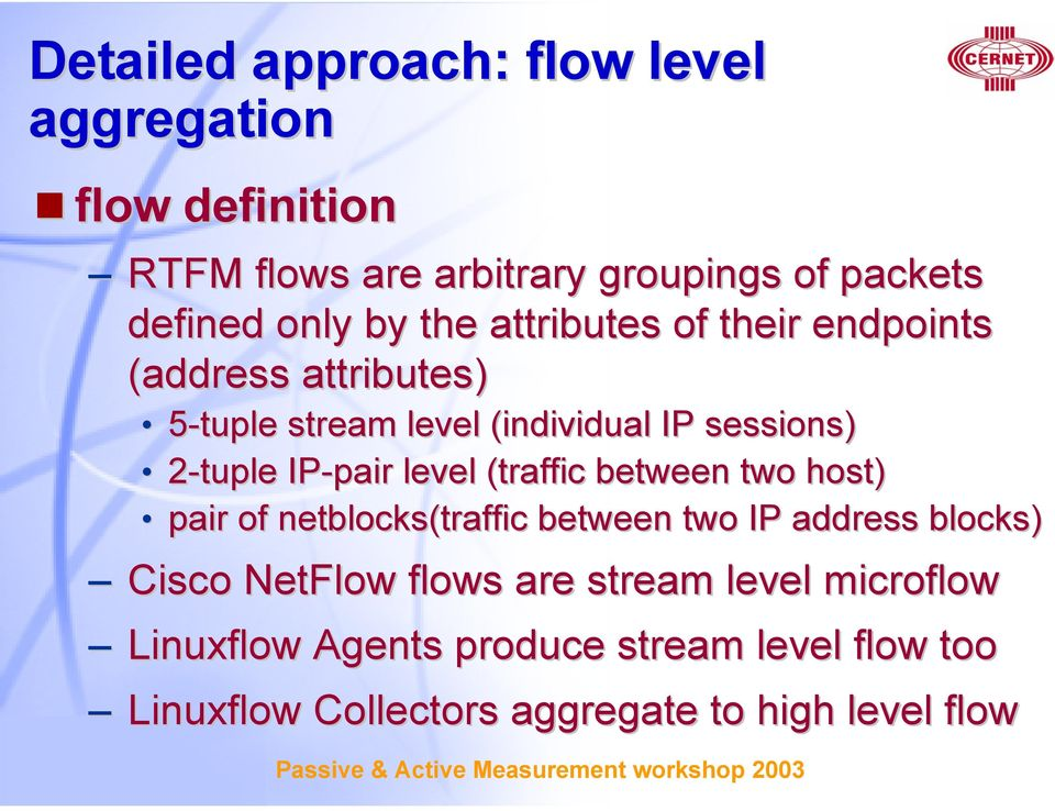 IP-pair level (traffic between two host) pair of netblocks(traffic between two IP address blocks) Cisco NetFlow flows