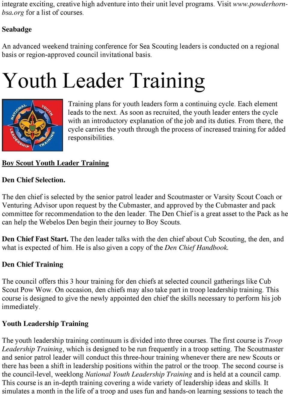 Youth Leader Training Training plans for youth leaders form a continuing cycle. Each element leads to the next.