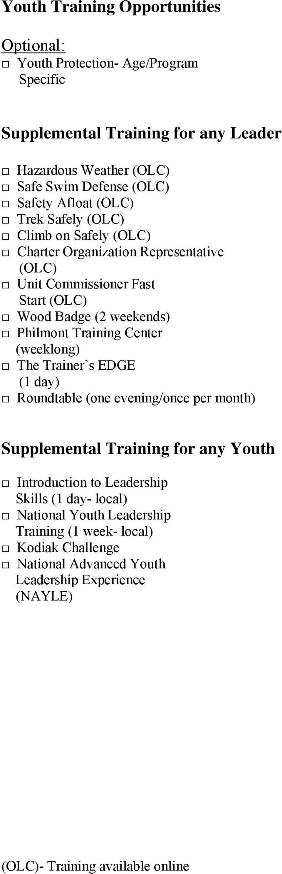 Philmont Training Center (weeklong) The Trainer s EDGE (1 day) Roundtable (one evening/once per month) Supplemental Training for any Youth Introduction to Leadership