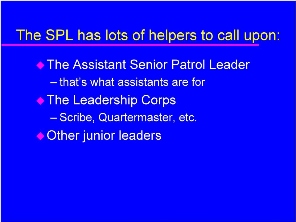 what assistants are for The Leadership Corps