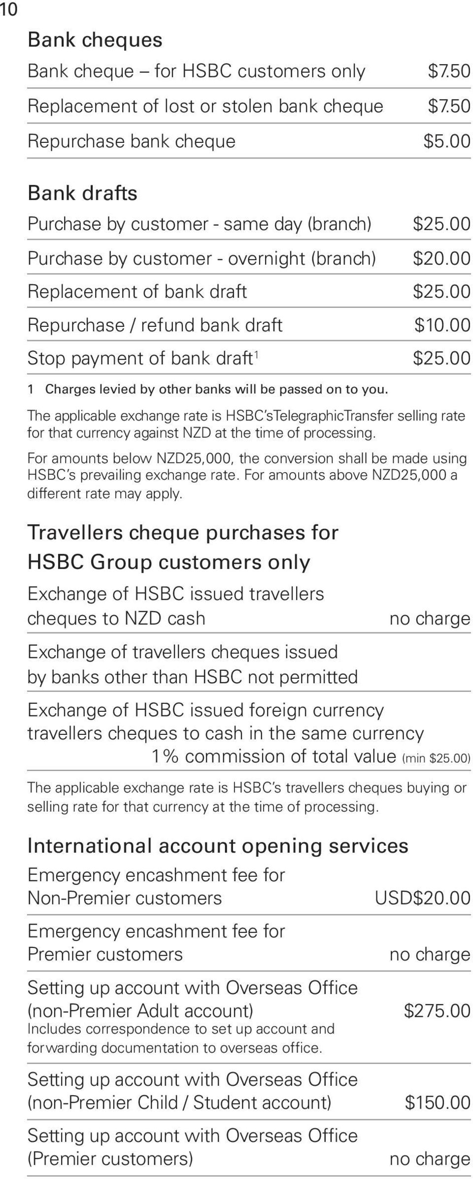 00 1 Charges levied by other banks will be passed on to you. The applicable exchange rate is HSBC stelegraphictransfer selling rate for that currency against NZD at the time of processing.