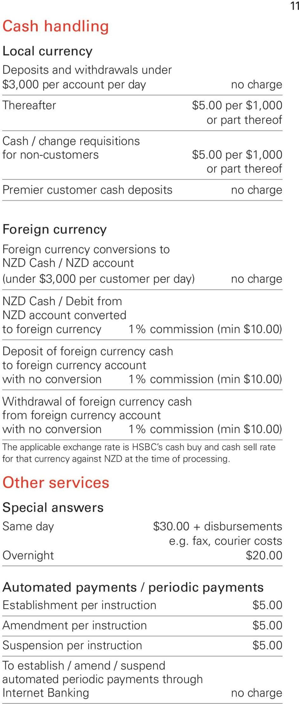 account converted to foreign currency 1% commission (min $10.00) Deposit of foreign currency cash to foreign currency account with no conversion 1% commission (min $10.