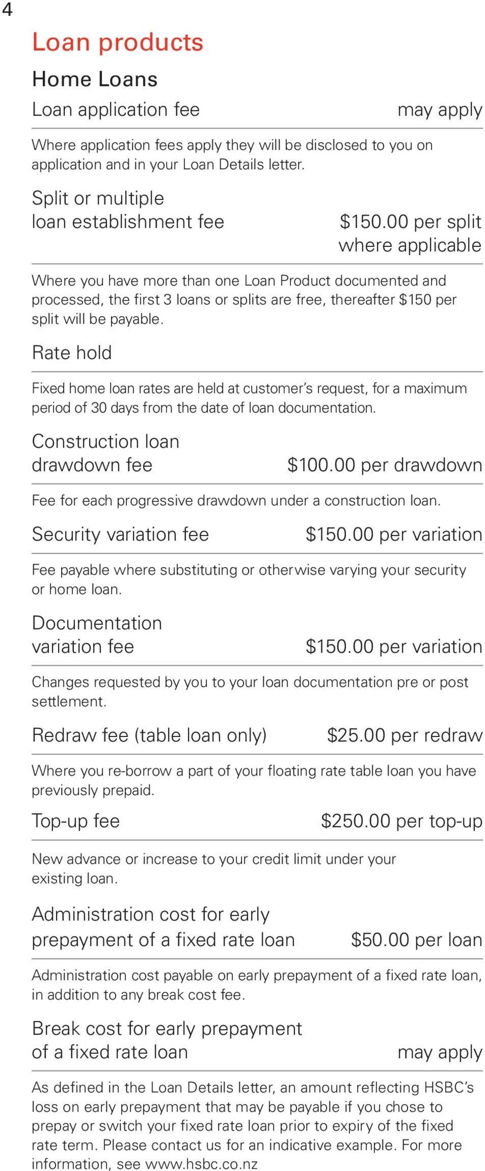00 per split where applicable Where you have more than one Loan Product documented and processed, the first 3 loans or splits are free, thereafter $150 per split will be payable.