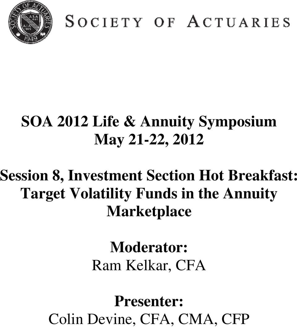 Volatility Funds in the Annuity Marketplace