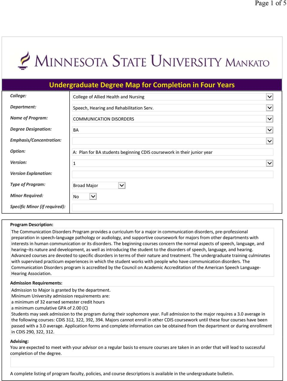 Type of Program: Broad Major Minor Required: No Specific Minor (if required): Program Description: The Communication Disorders Program provides a curriculum for a major in communication disorders,