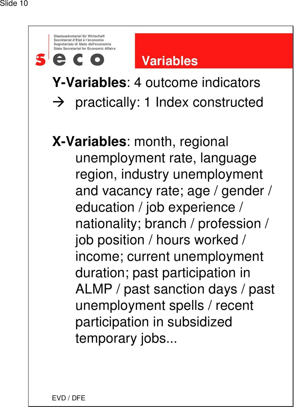 experience / nationality; branch / profession / job position / hours worked / income; current unemployment duration;