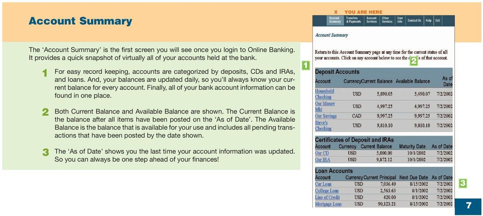 Finally, all of your bank account information can be found in one place. Both Current Balance and Available Balance are shown.