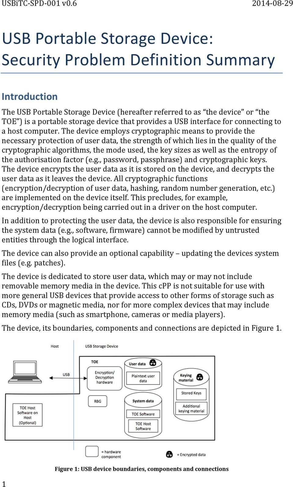 The device employs cryptographic means to provide the necessary protection of user data, the strength of which lies in the quality of the cryptographic algorithms, the mode used, the key sizes as