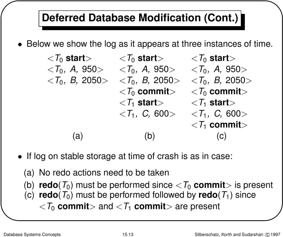 <T 1,C,600> <T 1,C,600> <T 1 commit> (a) (b) (c) If log on stable storage at time of crash is as in case: (a) No redo actions need to be taken (b) redo(t 0 )
