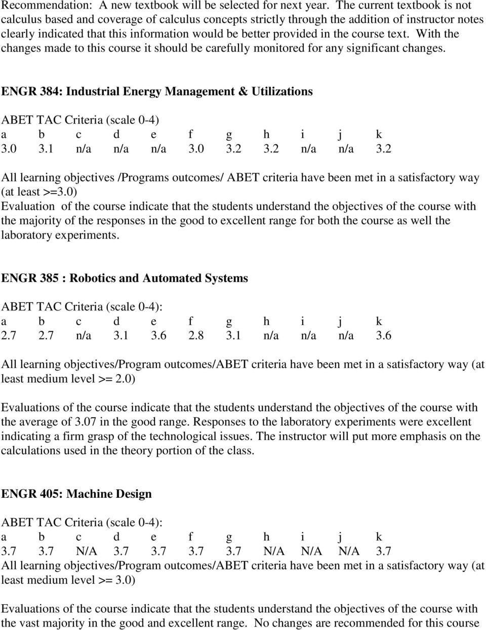 course text. With the changes made to this course it should be carefully monitored for any significant changes. ENGR 384: Industrial Energy Management & Utilizations ABET TAC Criteria (scale 0-4) 3.