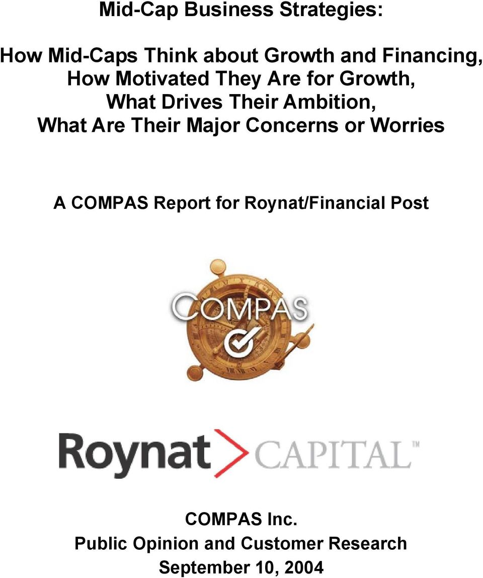 Ambition, What Are Their Major Concerns or Worries A COMPAS Report for