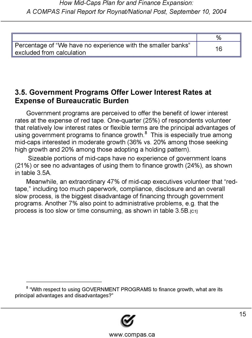 One-quarter (25) of respondents volunteer that relatively low interest rates or flexible terms are the principal advantages of using government programs to finance growth.