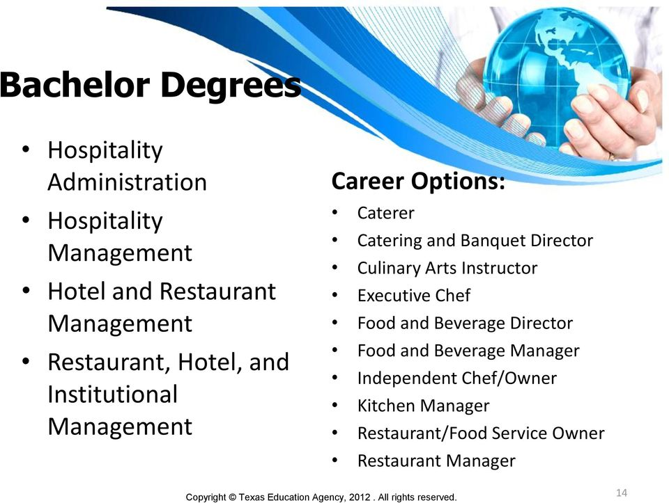 Director Culinary Arts Instructor Executive Chef Food and Beverage Director Food and