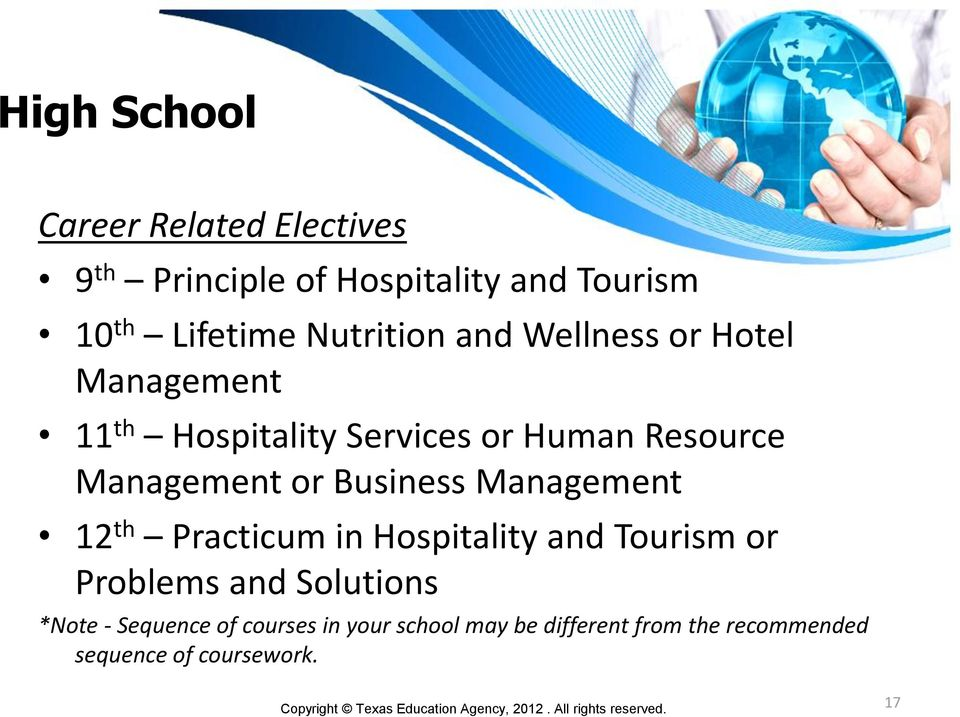 Business 12 th Practicum in Hospitality and Tourism or Problems and Solutions *Note -